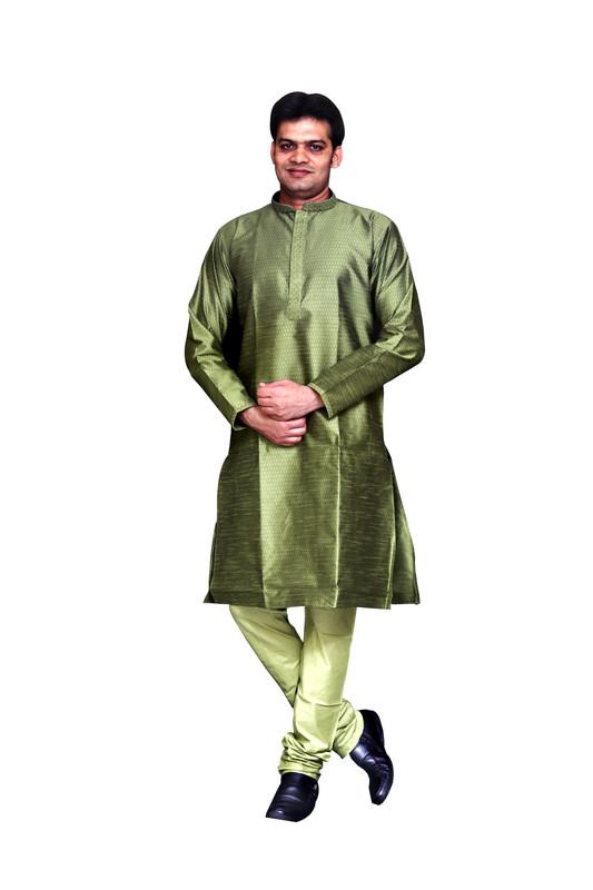 Sreemant | Sreemant Blended Art Silk Textured Green Kurta for Men, KSMB806-GRN28