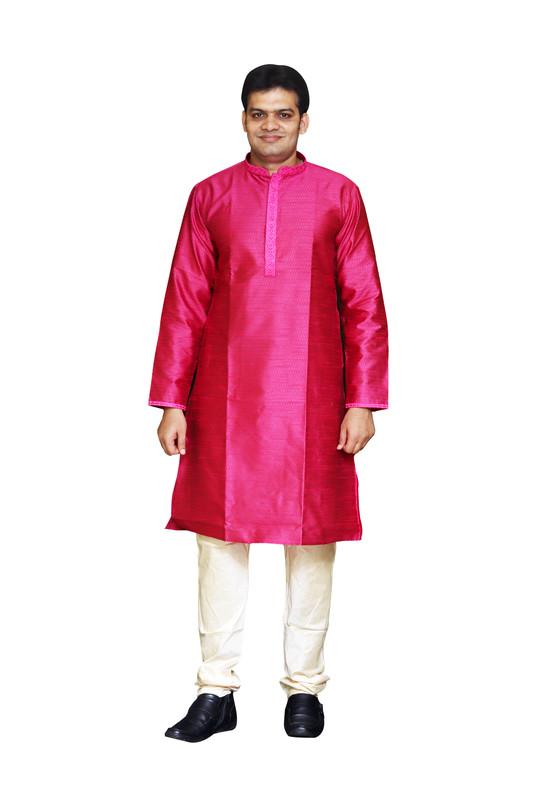 Sreemant | Sreemant Blended Art Silk Textured Pink Kurta for Men, KSMB806-PNK1