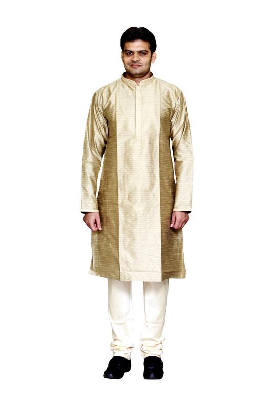 Sreemant | Sreemant Blended Art Silk Textured Beige Kurta for Men, KSMB806B-BEG17B