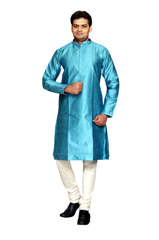 Sreemant | Sreemant Blended Art Silk Textured Feroze Kurta for Men, KSMB806B-FRZ19B