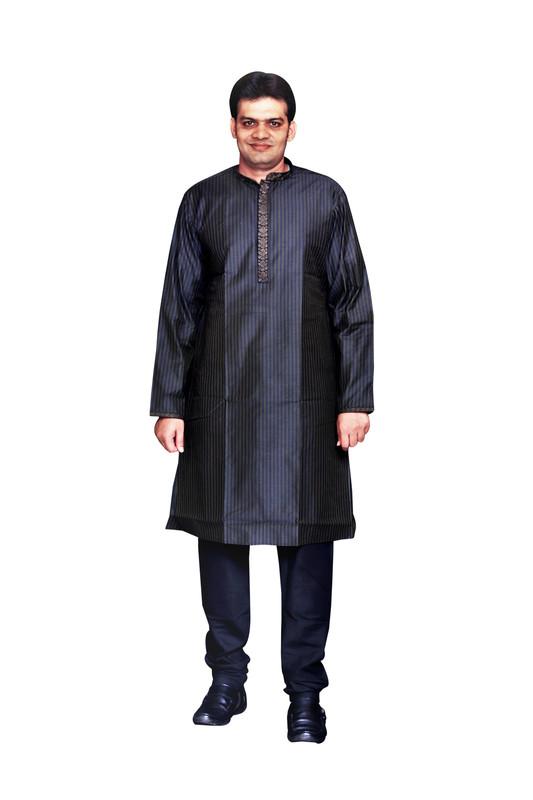 Sreemant | Sreemant Fine Blended Silk Embroidered Black Kurta for Men, KSMB807-BLK17