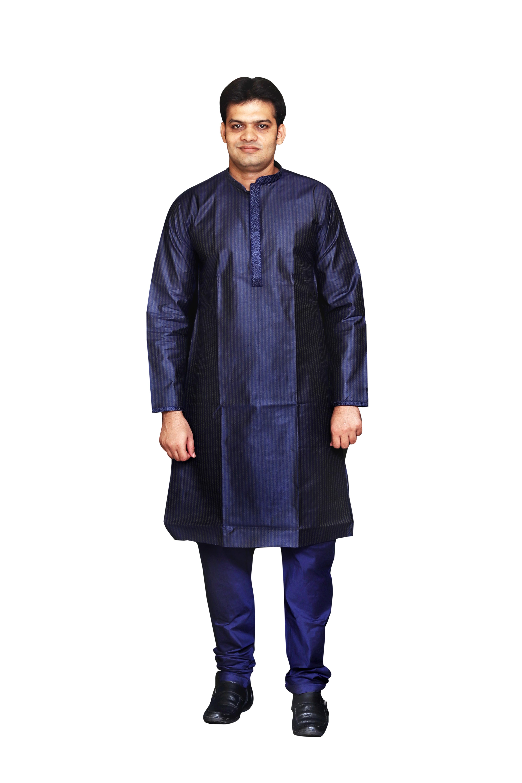 Sreemant Fine Blended Silk Embroidered Blue Kurta for Men, KSMB807-BLU18