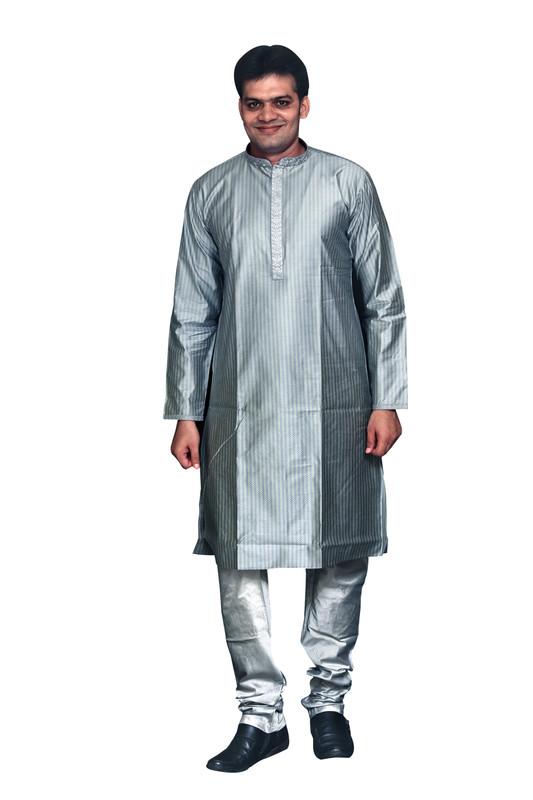 Sreemant Fine Blended Silk Embroidered Grey Kurta for Men, KSMB807-GRY16