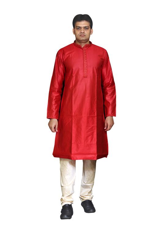 Sreemant Fine Blended Silk Embroidered Red Kurta for Men, KSMB807-RED3