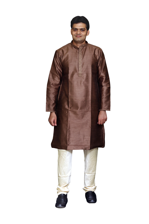 Sreemant | Sreemant Blended Art Silk Stylish Brown Kurta for Men, KSMB810-BWN21