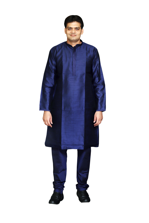 Sreemant | Sreemant Blended Art Silk Stylish Navy Blue Kurta for Men, KSMB810-NVY12