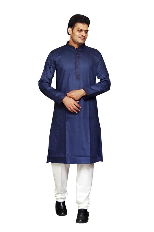 Sreemant | Sreemant Elegant Navy Blue 100% Pure Cotton Kurta For Men, KSMELA13-NVY12