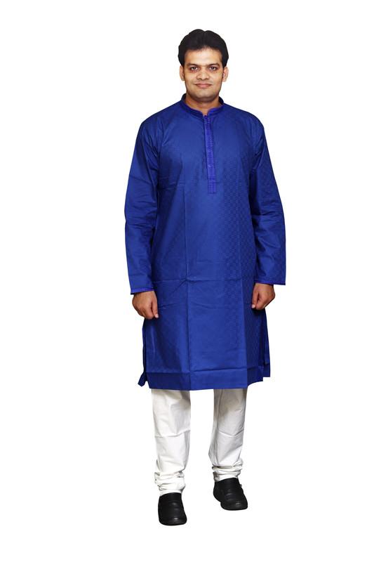 Sreemant | Sreemant Handsome Royal Blue 100% Pure Cotton Kurta For Men, KSMELA13-RBL10