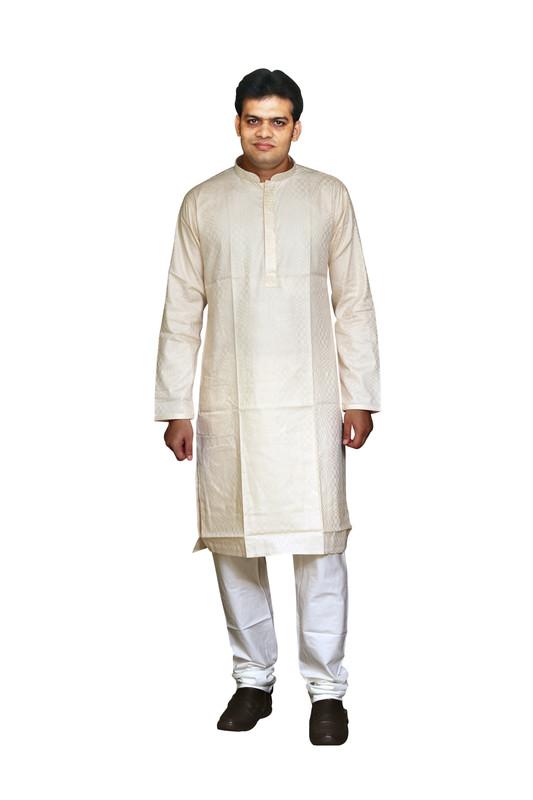 Sreemant   Sreemant Sophisticated Beige 100% Pure Cotton Kurta For Men, KSMELA18-BEG4A