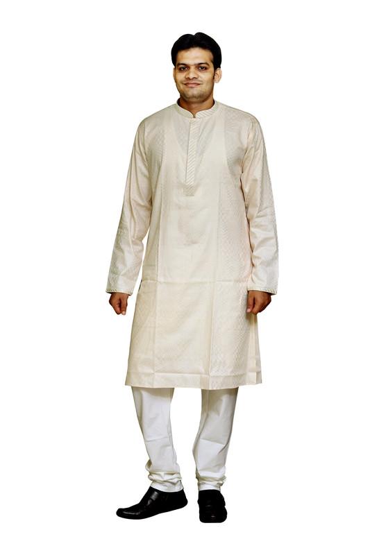 Sreemant   Sreemant Understated Beige 100% Pure Cotton Kurta For Men, KSMELA18-BEG4B