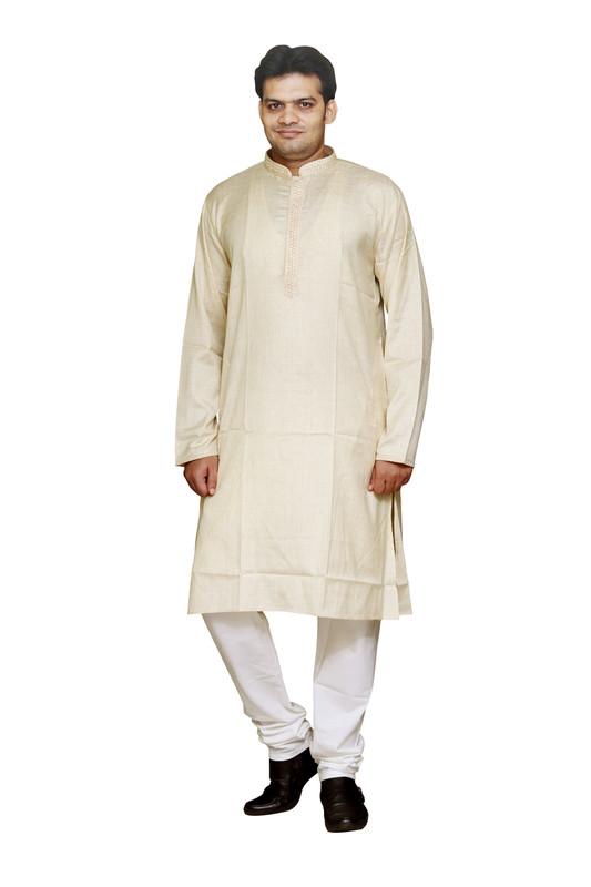 Sreemant   Sreemant 100% Pure Cotton Self Design Beige Kurta for Men, KSMSBNA-BEG4A