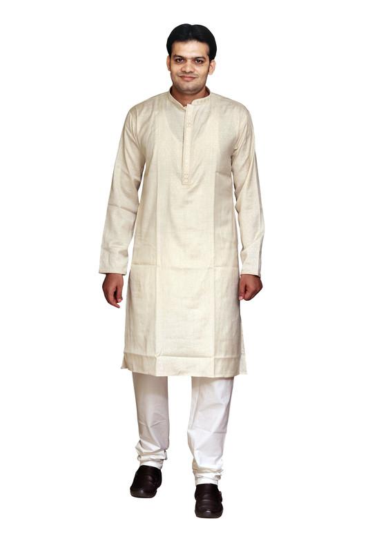 Sreemant | Sreemant 100% Pure Cotton Self Design Cream Kurta for Men, KSMSBNA-CRM3