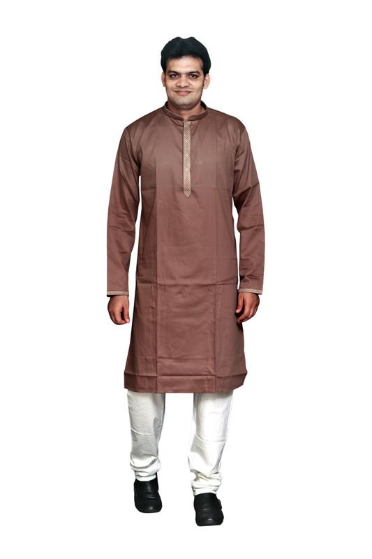 Sreemant   Sreemant Pure Cotton Subtle Brown Kurta for Men, MFKCTBEL-CHO24B