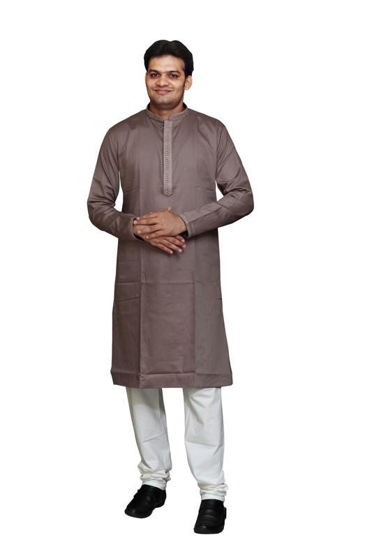 Sreemant   Sreemant Pure Cotton Earthy Brown Kurta for Men, MFKCTBEL-MUD23B