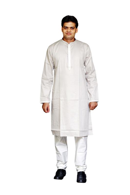 Sreemant   Sreemant Pure Cotton Somber Silver Kurta for Men, MFKCTBEL-SLV04A