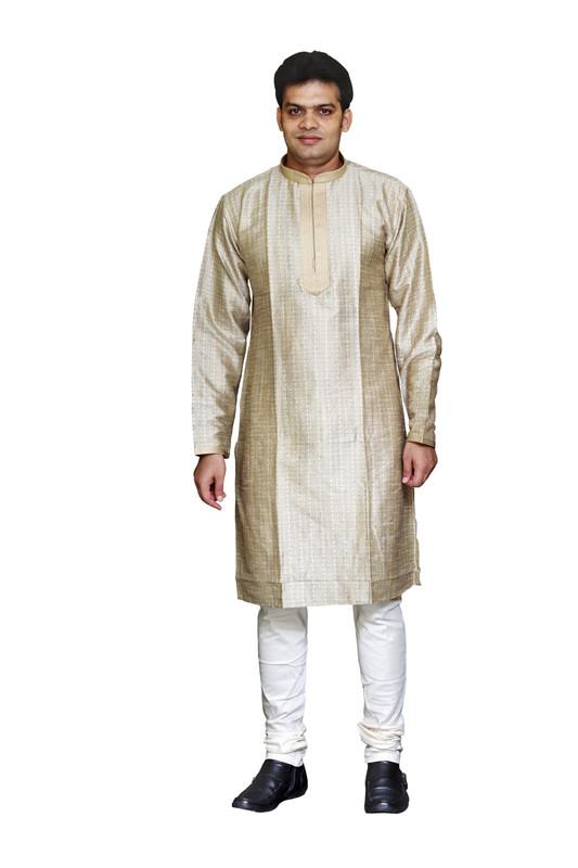Sreemant Traditional Beige Blended Silk Kurta For Men, MK11BE-BEG6