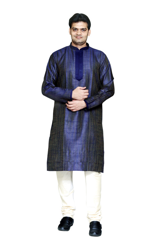 Sreemant | Sreemant Modern Blue Blended Silk Kurta For Men, MK11BE-BLU16