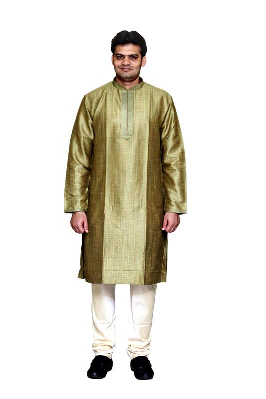 Sreemant | Sreemant Gracious Green Blended Silk Kurta For Men, MK11BE-GRN23