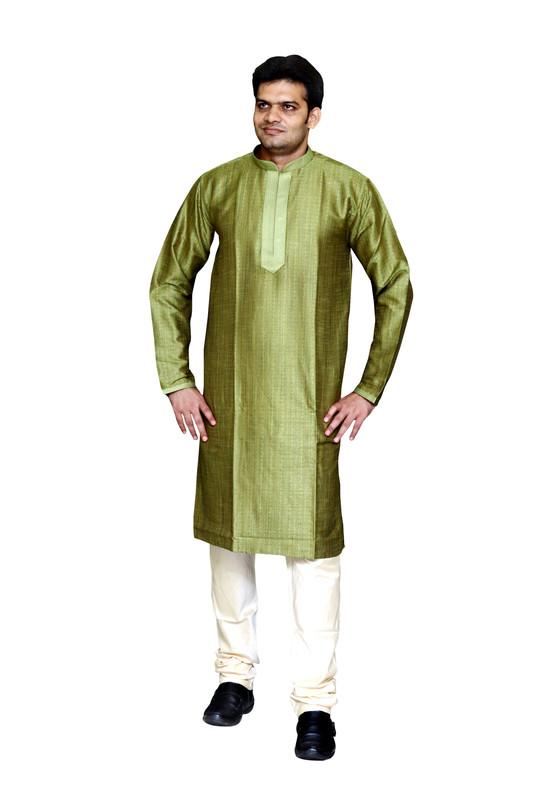 Sreemant | Sreemant Organic Green Blended Silk Kurta For Men, MK11BE-LYF15