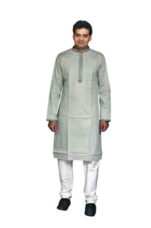 Sreemant | Sreemant Sober Silver 100% Pure Cotton Kurta For Men, MKCTNGG-SLV52A