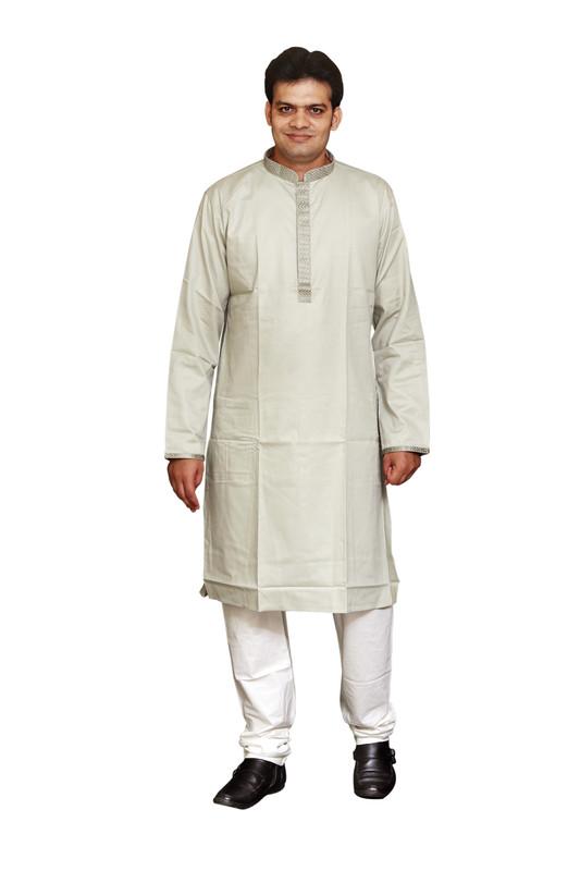 Sreemant | Sreemant Sober Silver 100% Pure Cotton Kurta For Men, MKCTNGG-SLV52B