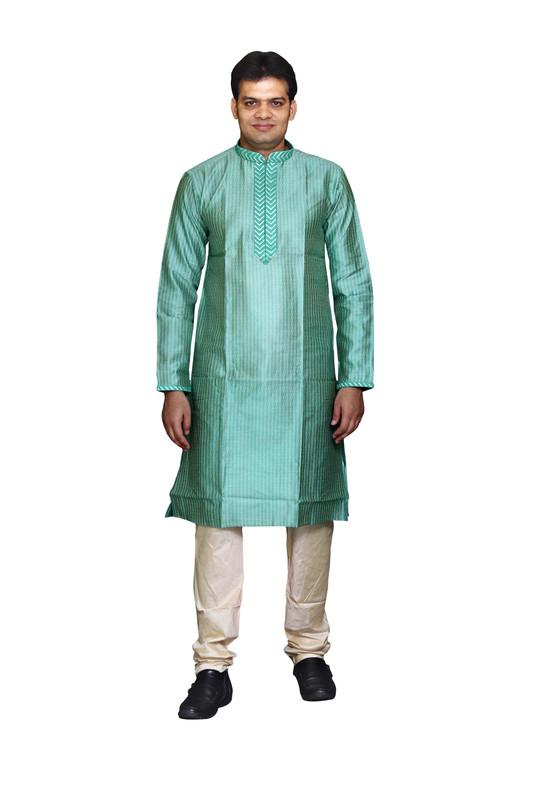 Sreemant | Sreemant Charismatic Green Art Silk Kurta For Men, MKDB808-GRN5