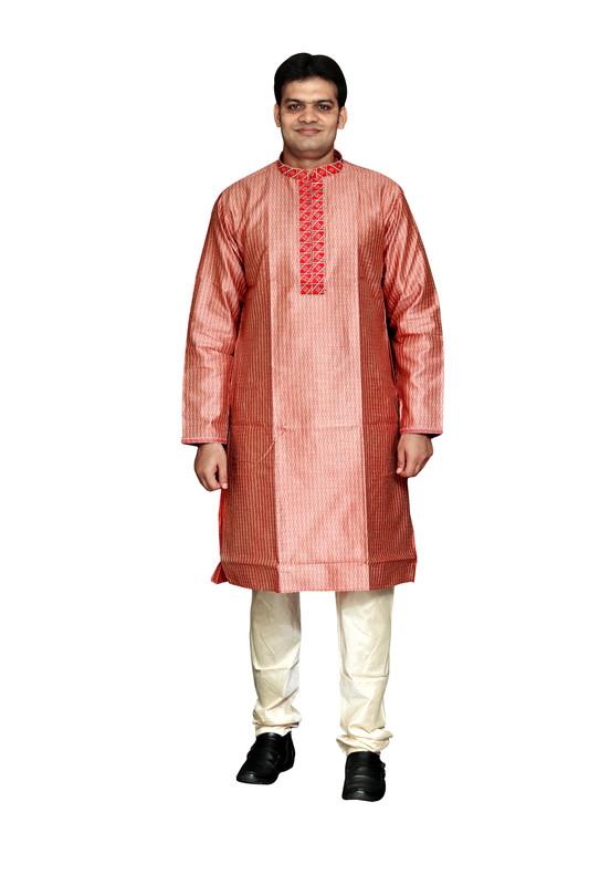 Sreemant | Sreemant Resplendent Red Art Silk Kurta For Men, MKDB808-RED1