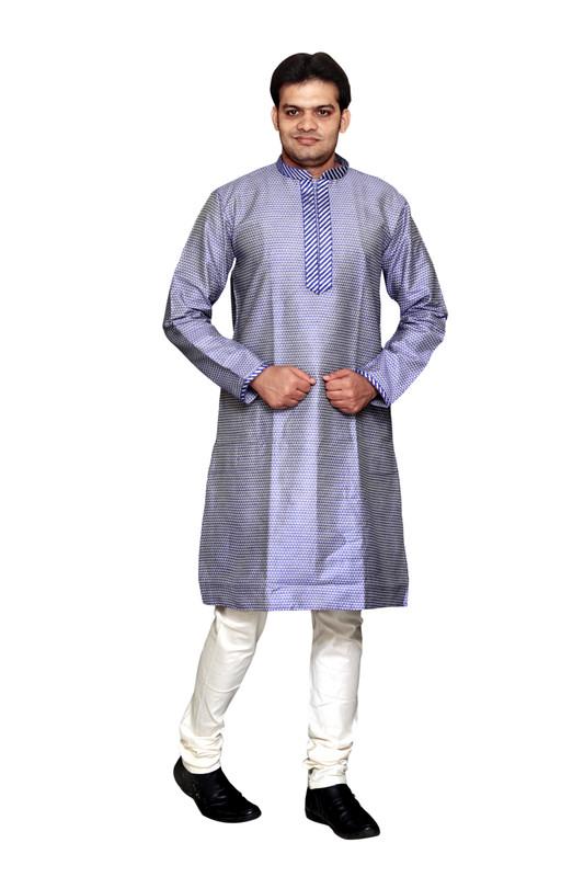 Sreemant | Sreemant Alluring Blue Art Silk Kurta For Men, MKDB809-BLU7