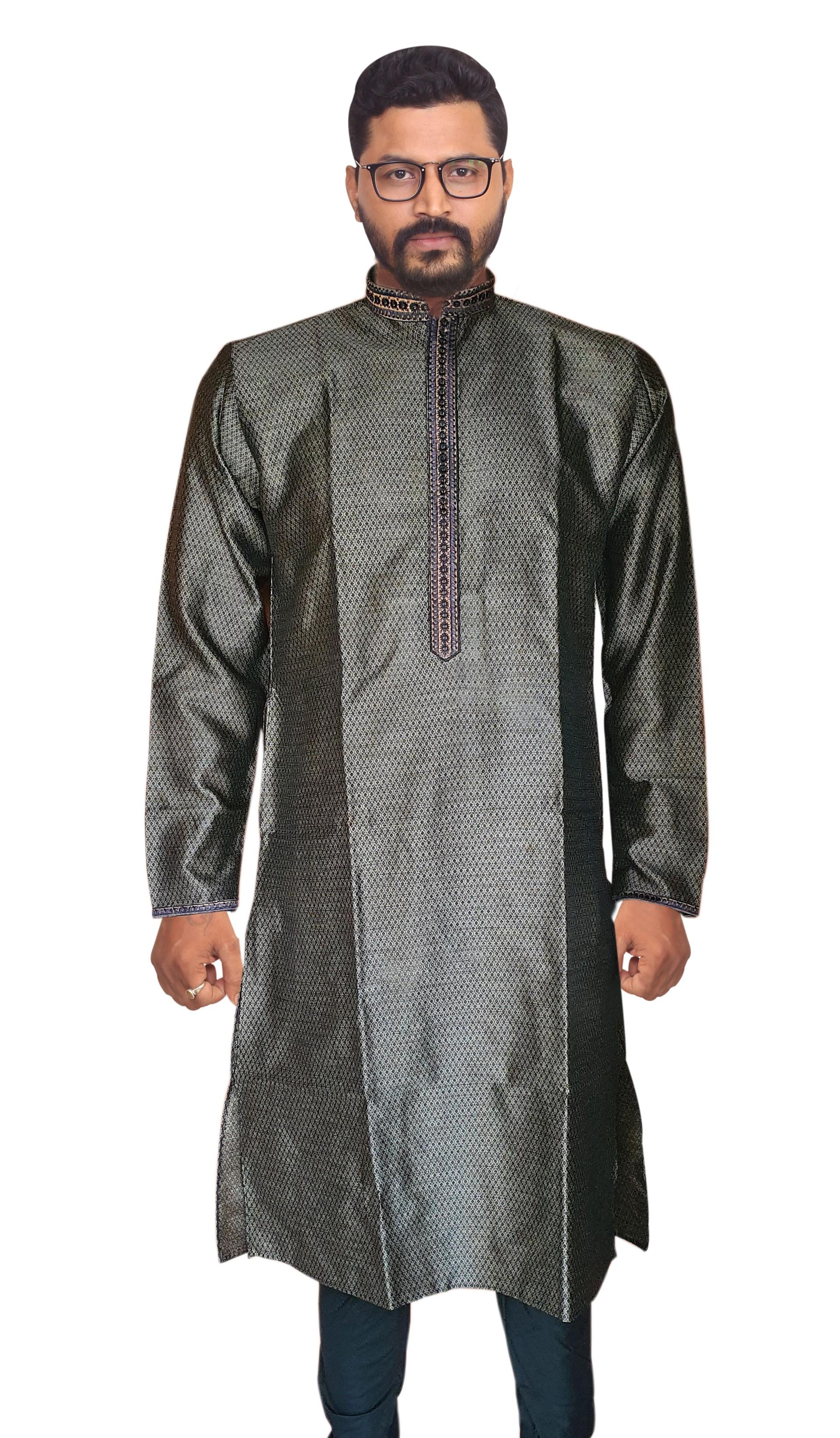 Sreemant   Sreemant Black Blended Silk Kurta For Men, MKMAR17-EBLK20