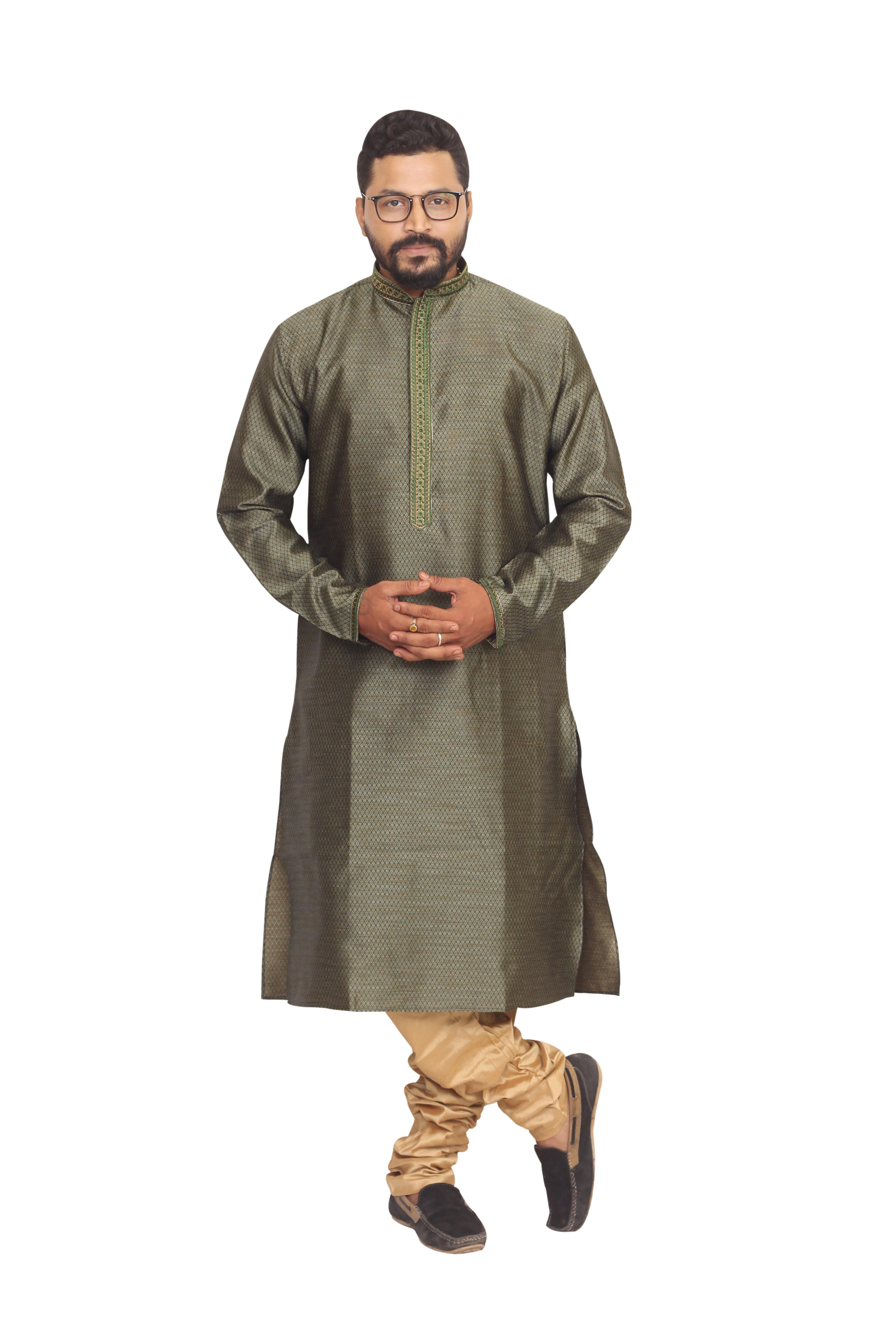 Sreemant   Sreemant Dark Green Blended Silk Kurta For Men, MKMAR17-PDGR6