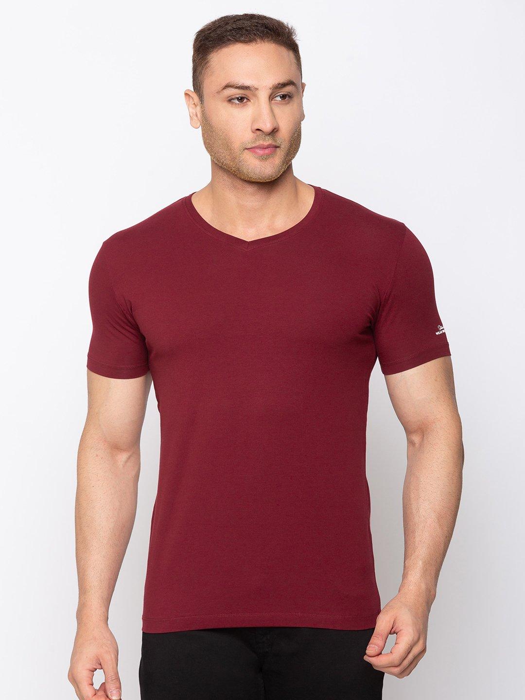 Status Quo   Solid Slim Fit V-Neck T-shirt