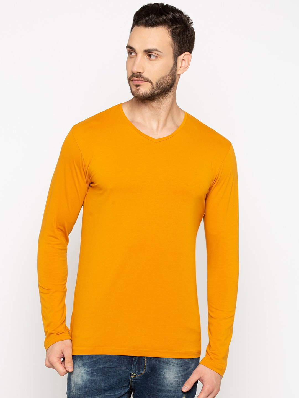 Status Quo   Solid V-Neck Full Sleeves T-Shirt