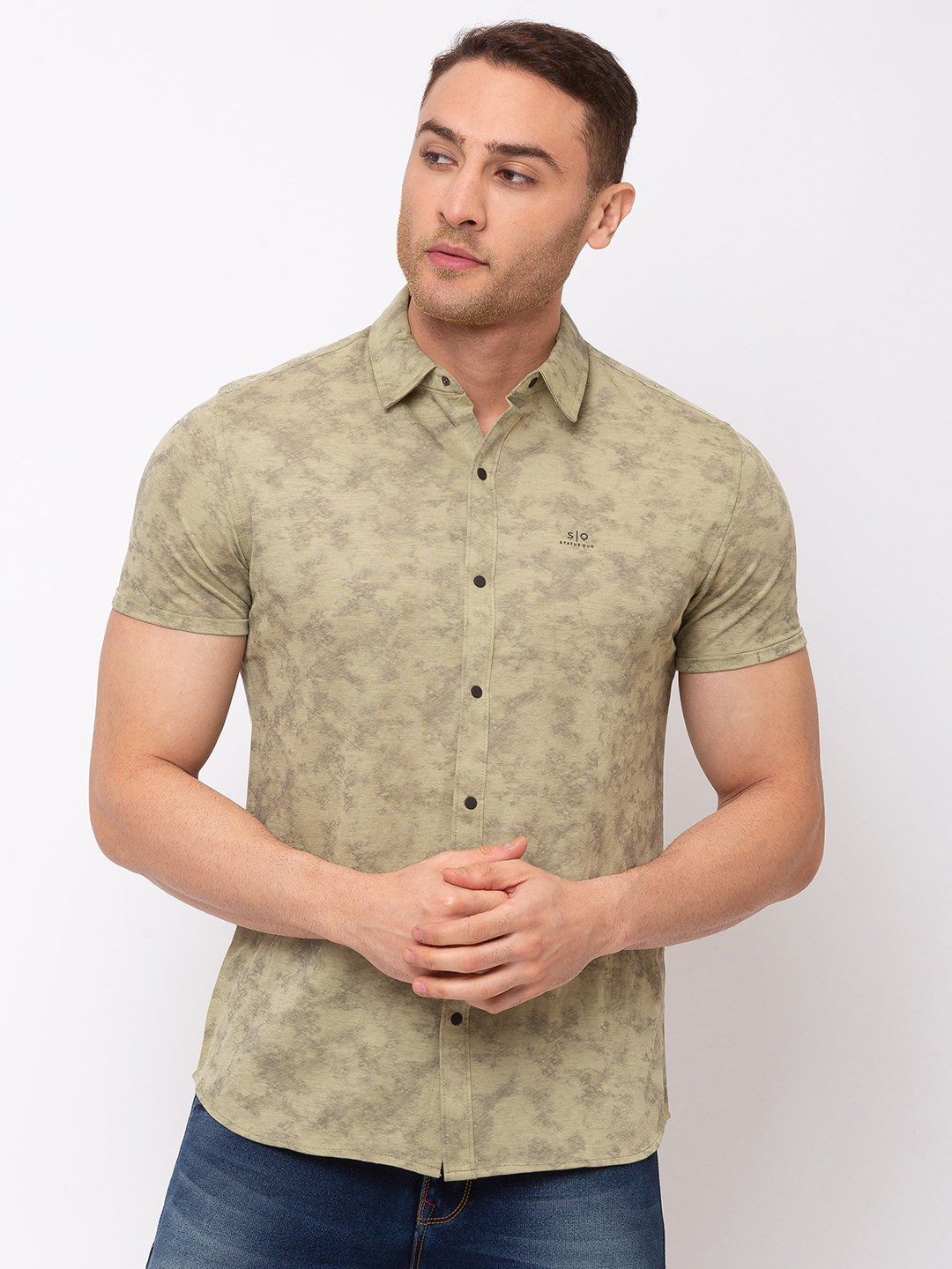 Status Quo | Printed Cotton Polyester Spread Collar Shirt
