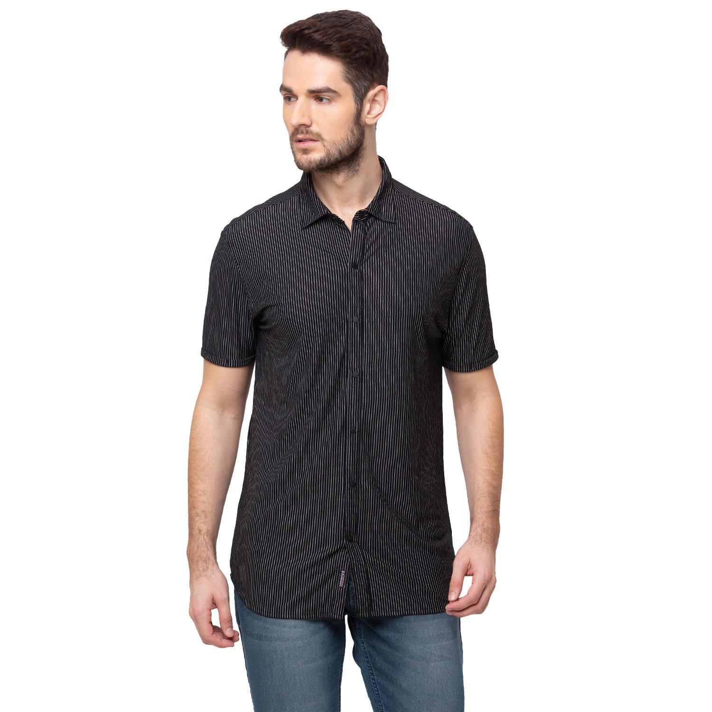 Status Quo   Striped Cotton Polyester Spread Collar Shirt