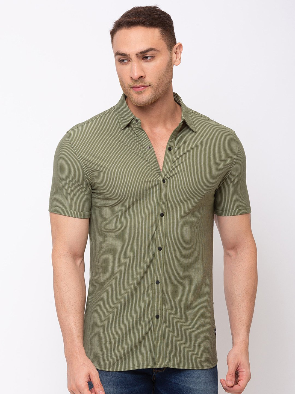 Status Quo | Striped Cotton Polyester Spread Collar Shirt