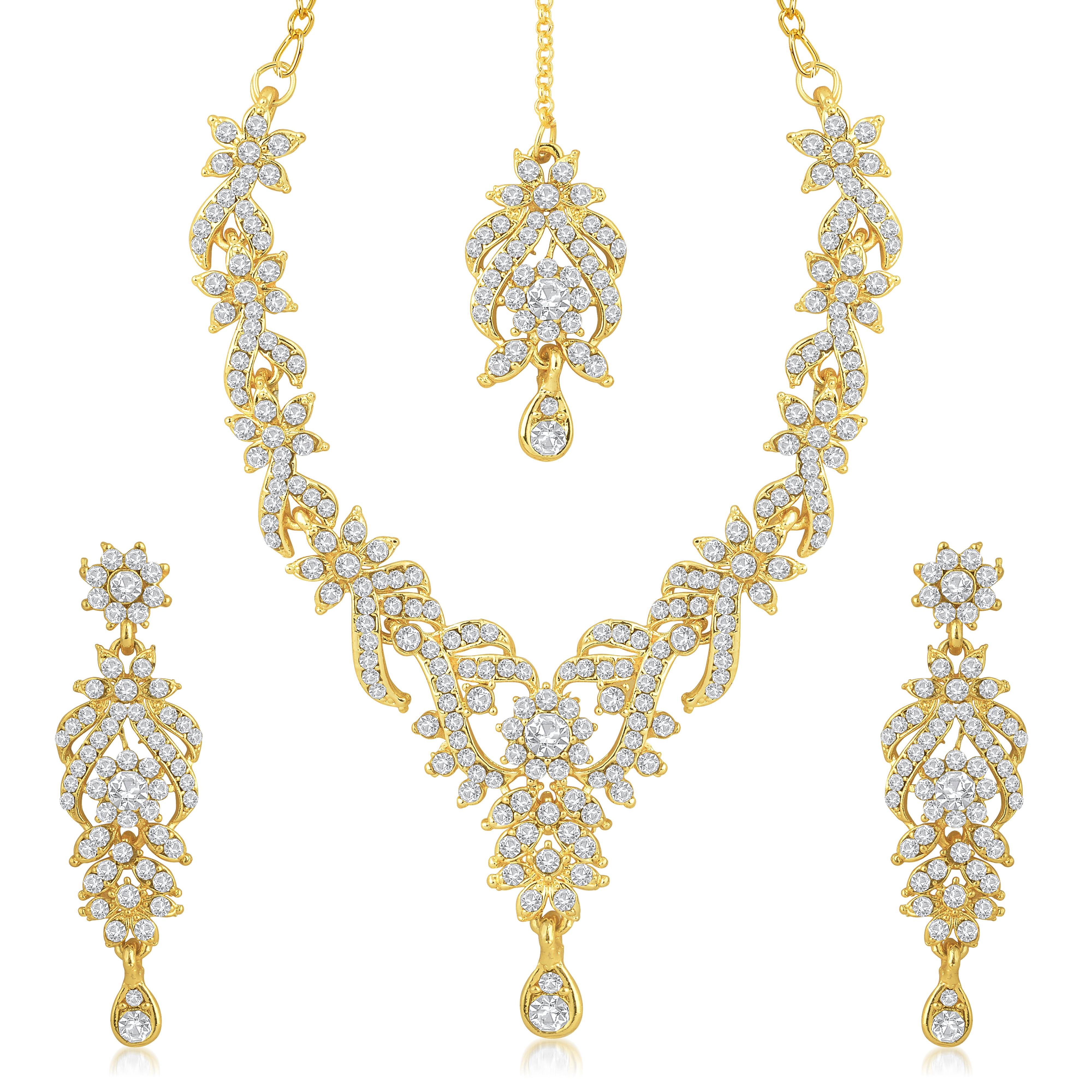 SUKKHI | Sukkhi Trendy Gold Plated Austrian Diamond Necklace Set for Women