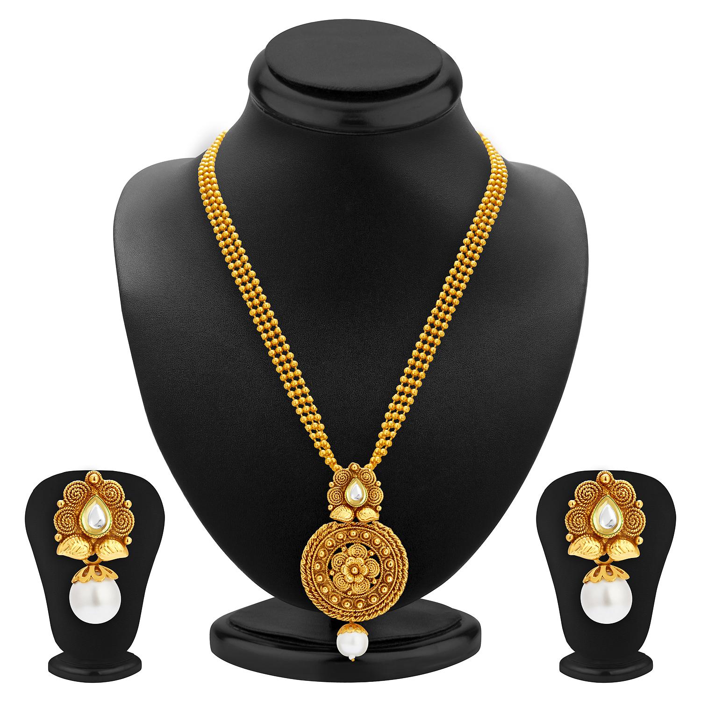 SUKKHI | Sukkhi Graceful Pearl Gold Plated Kundan Necklace Set For Women