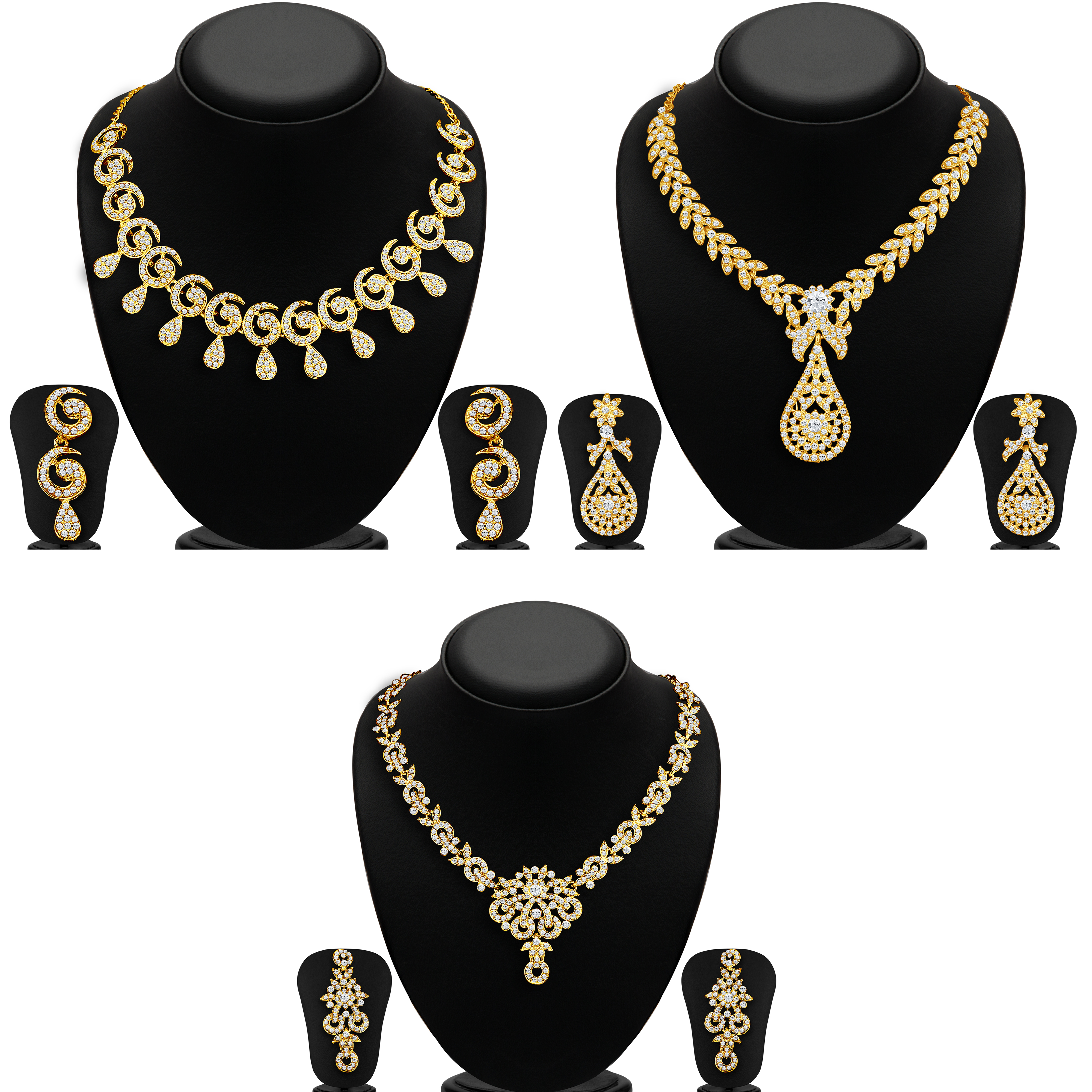SUKKHI | Sukkhi Glimmery Gold Plated Set of 3 Necklace Combo for Women