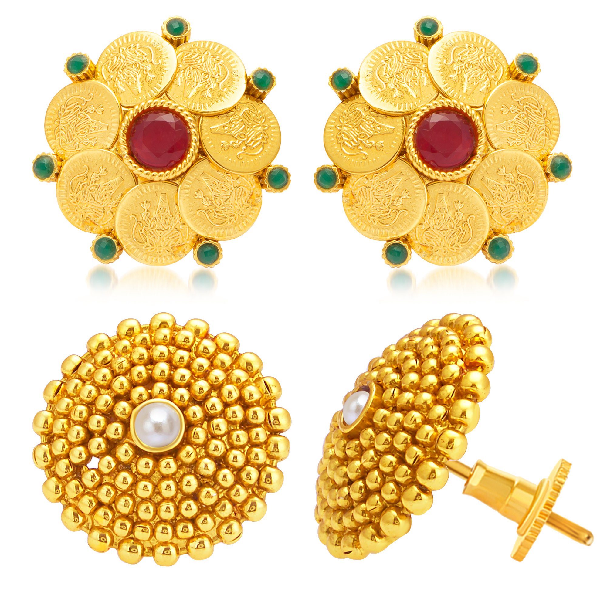 SUKKHI   Sukkhi Ethnic Gold Plated Set of 2 Pair Temple Stud Earring Combo For Women