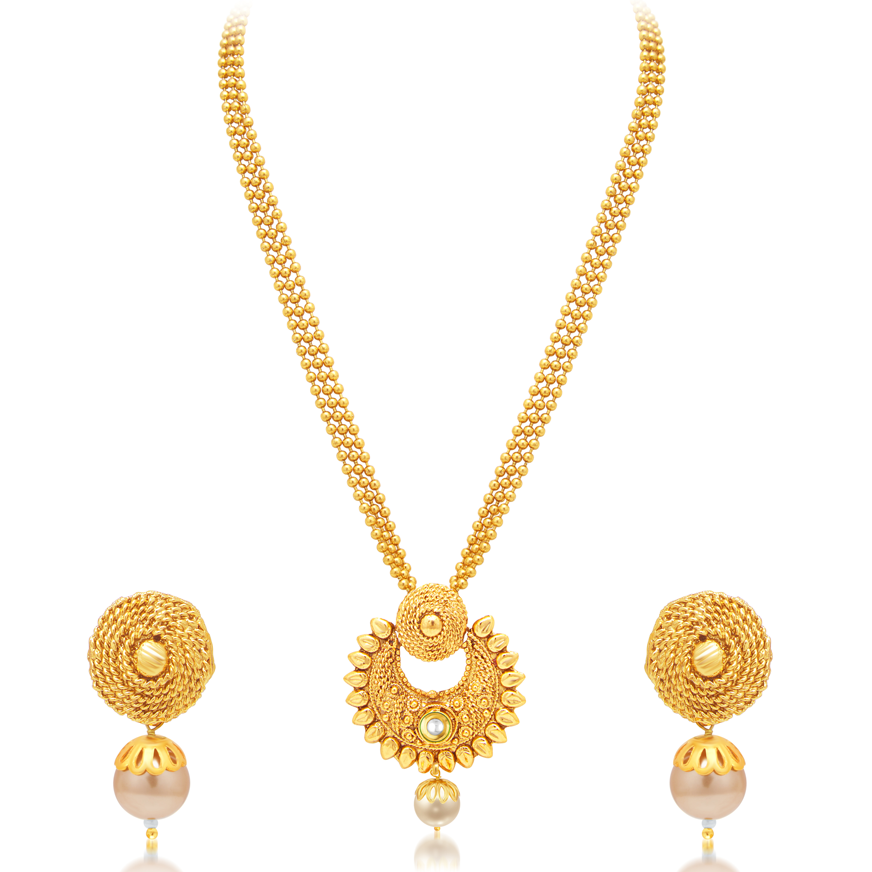 SUKKHI | Sukkhi Pleasing Pearl Gold Plated Necklace Set For Women