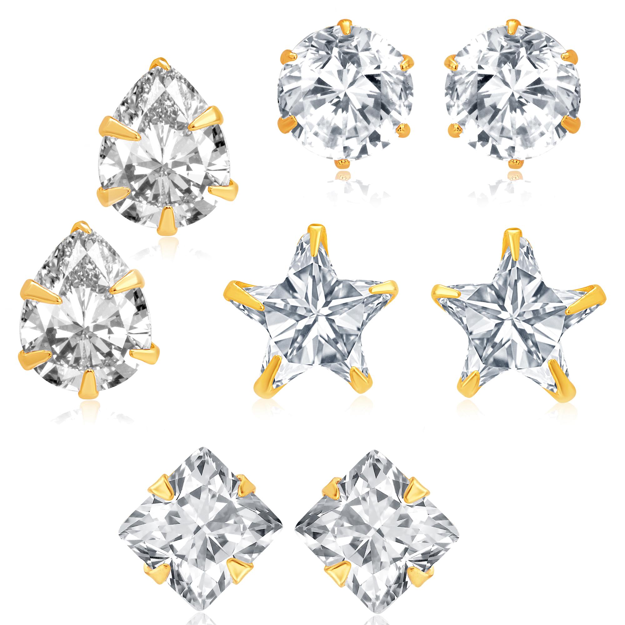 SUKKHI   Sukkhi Fancy Gold Plated Cubic Zirconia Set of 4 Stud Earring Combo for Women