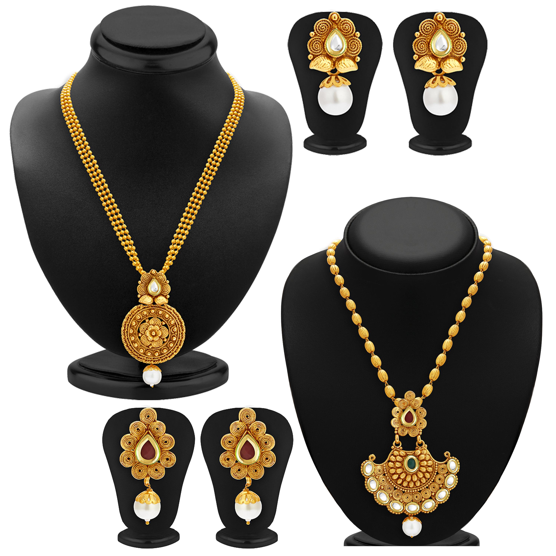 SUKKHI | Sukkhi Splendid Pearl Gold Plated Kundan Long Haram Necklace Set Combo For Women