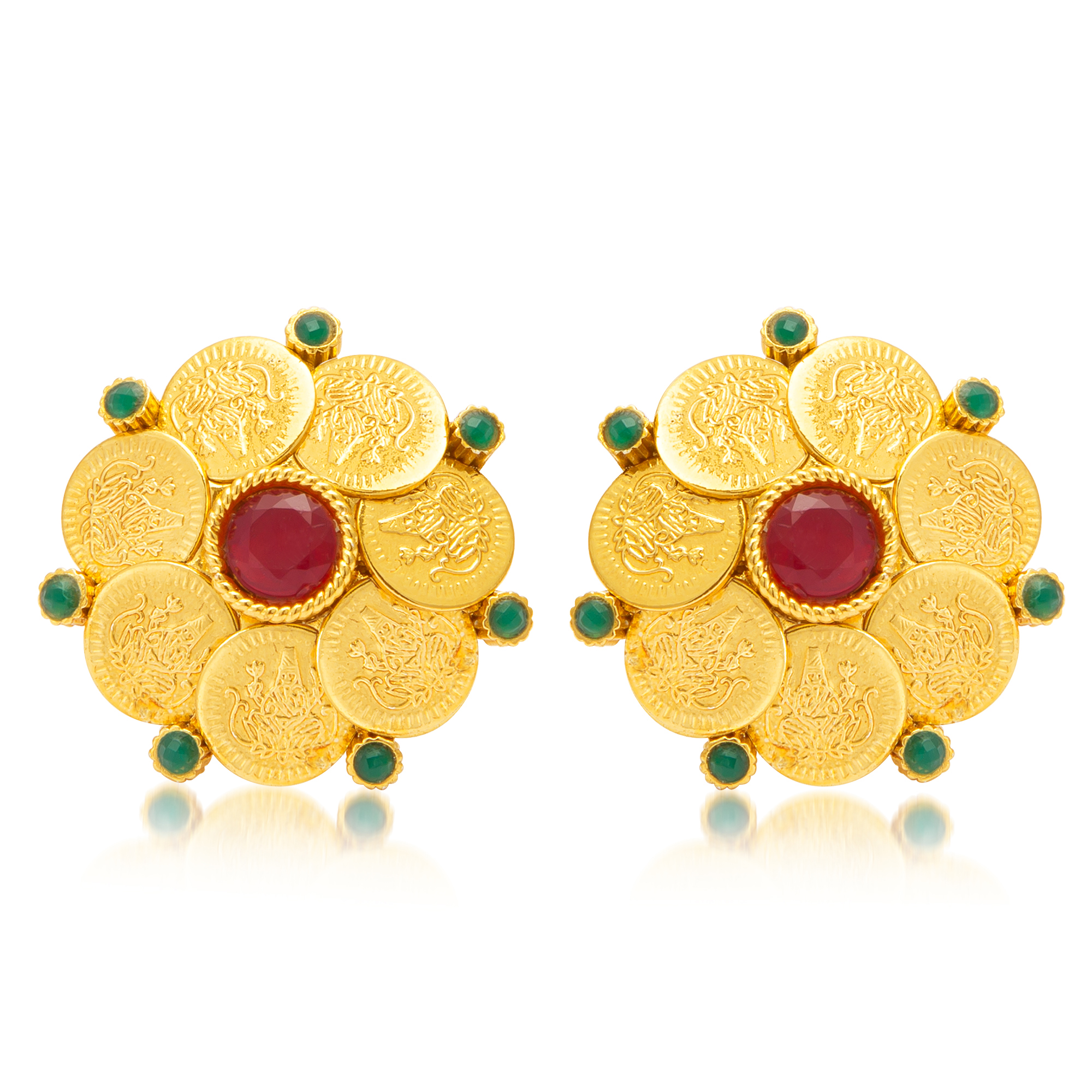 SUKKHI   Sukkhi Gorgeous Gold Plated Temple Jewellery Stud Earring For Women