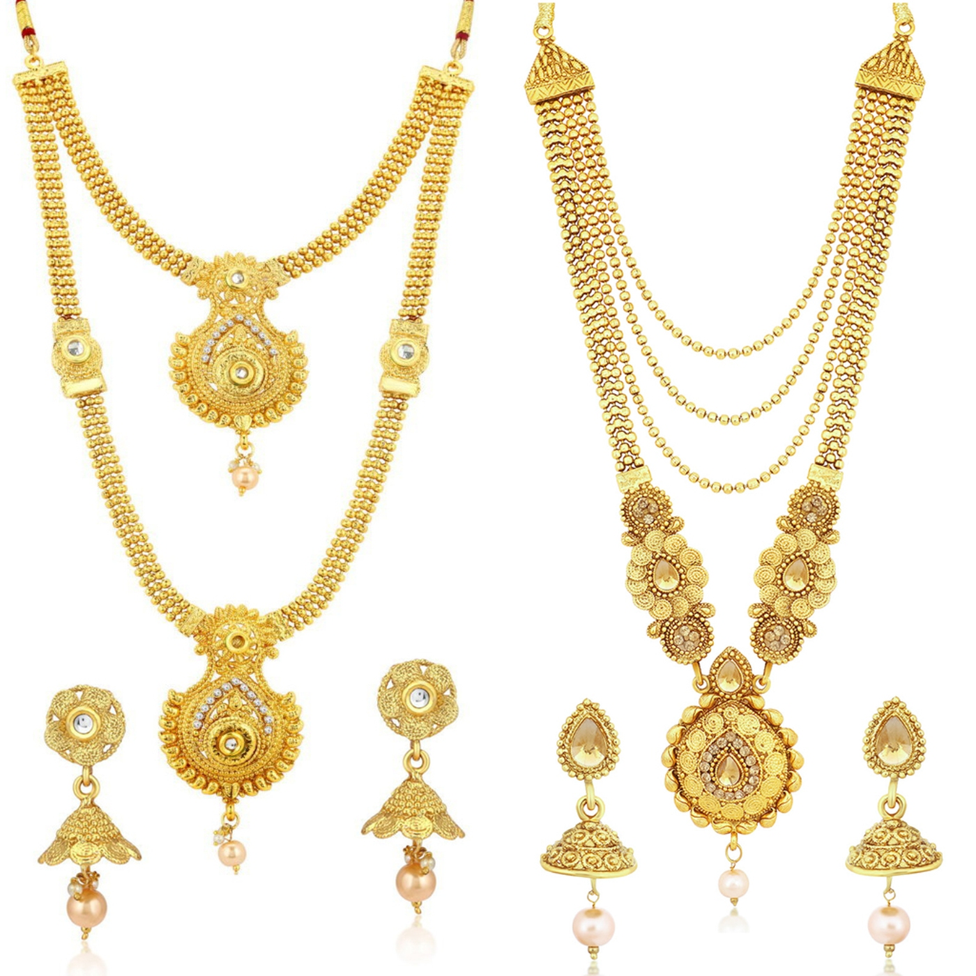 SUKKHI | Sukkhi Traditional Pearl Gold Plated Long Haram Necklace Set Combo For Women