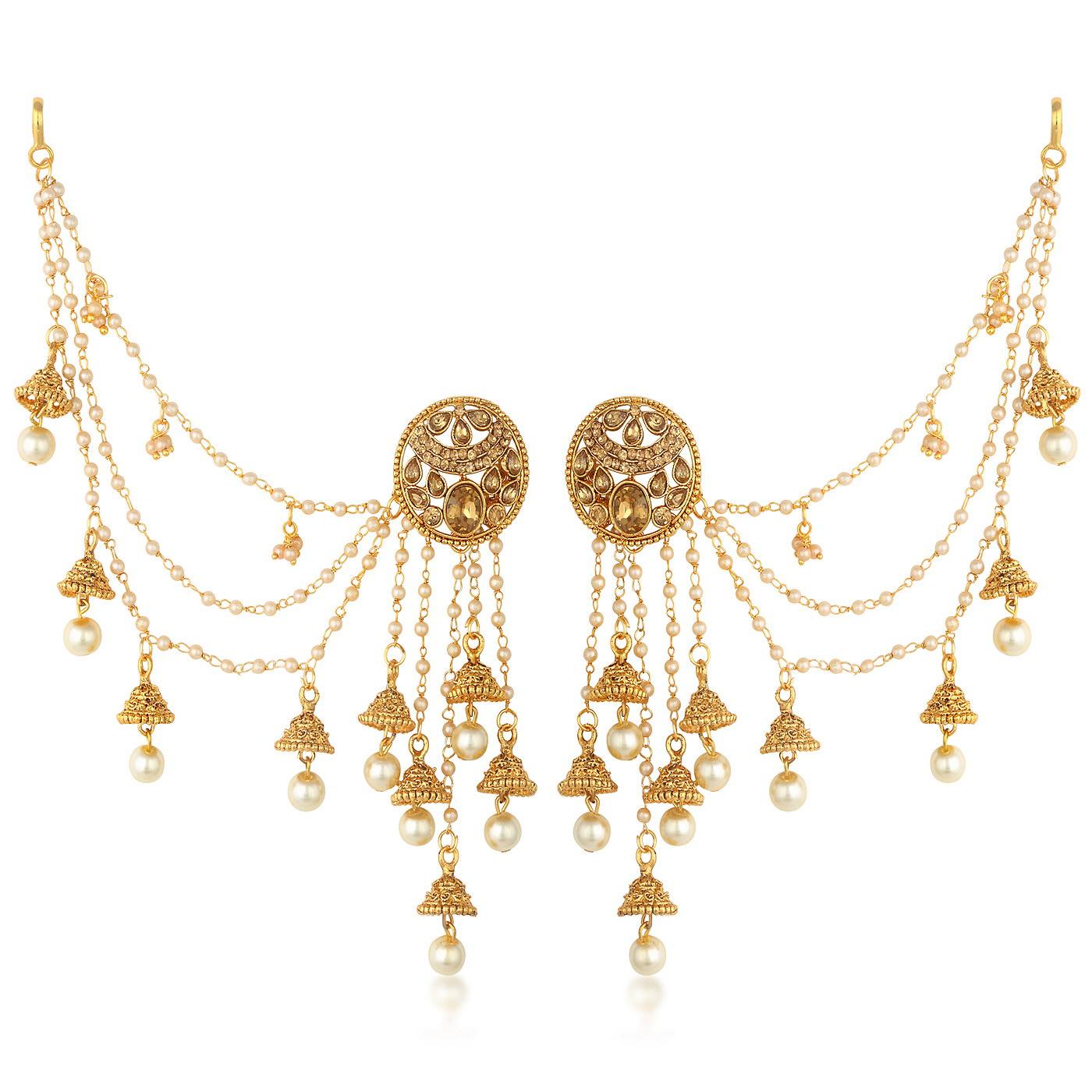 SUKKHI   Sukkhi Delightful Gold Plated Bahubali Inspired Long Chain Jhumki Earrings For Women