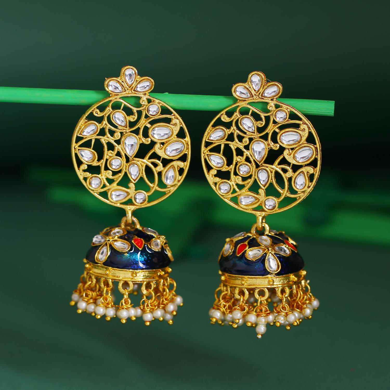 SUKKHI | Sukkhi Fabulous Pearl Gold Plated Kundan Jhumki Earring For Women