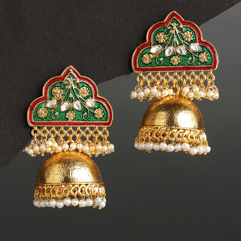 SUKKHI | Sukkhi Sober Gold Plated Meenakari Earring for Women