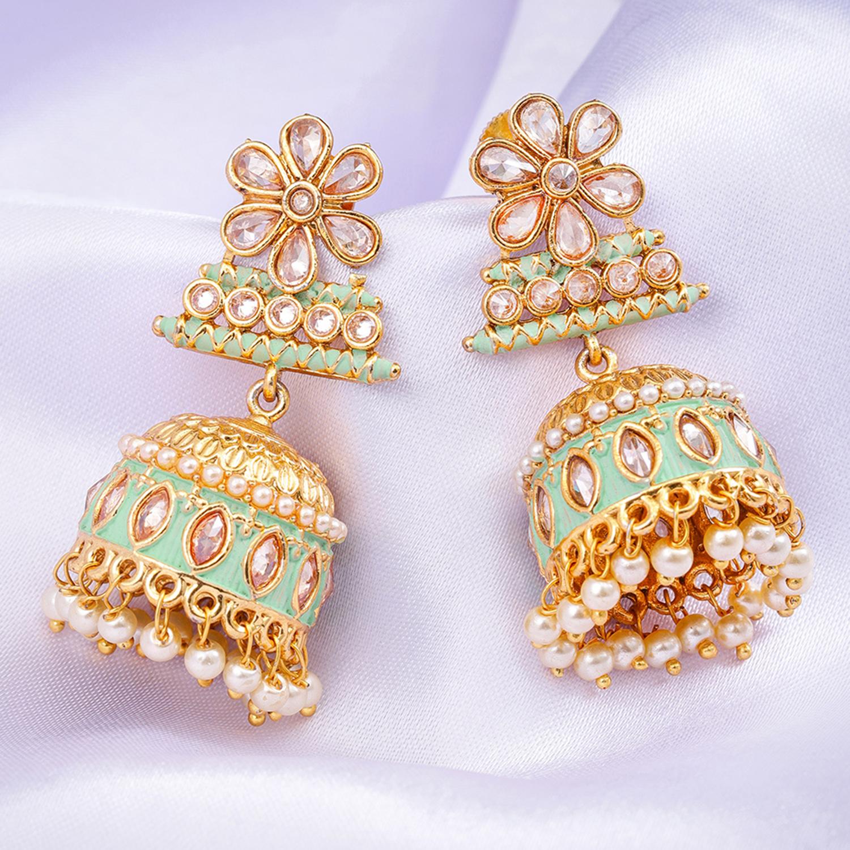 SUKKHI | Sukkhi Glamorous Mint Collection Gold Plated Jhumki Earring for Women
