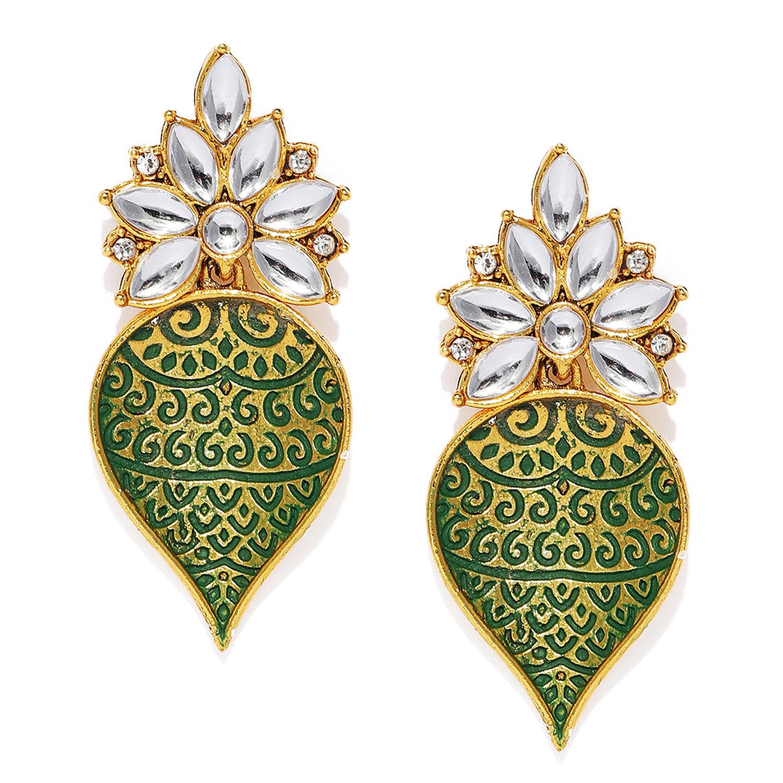 SUKKHI | Sukkhi Graceful Gold Plated Mint Collection Kundan Dangle Earring for Women