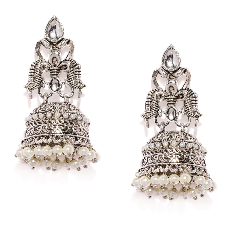 SUKKHI   Sukkhi Antique Oxidised Plated Pearl Jhumki Earring for Women